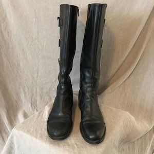 Ecco Women's Tall Black Leather Boots Sz 41/10 GUC